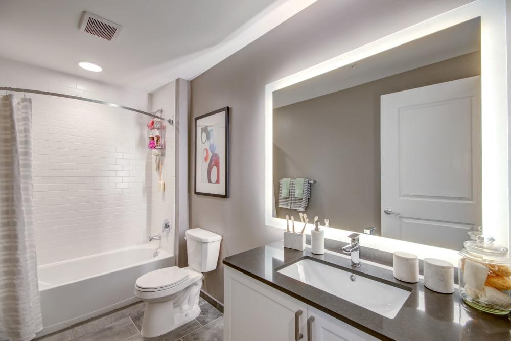 Back lit bathroom mirror at Harlow in Washington, District of Columbia