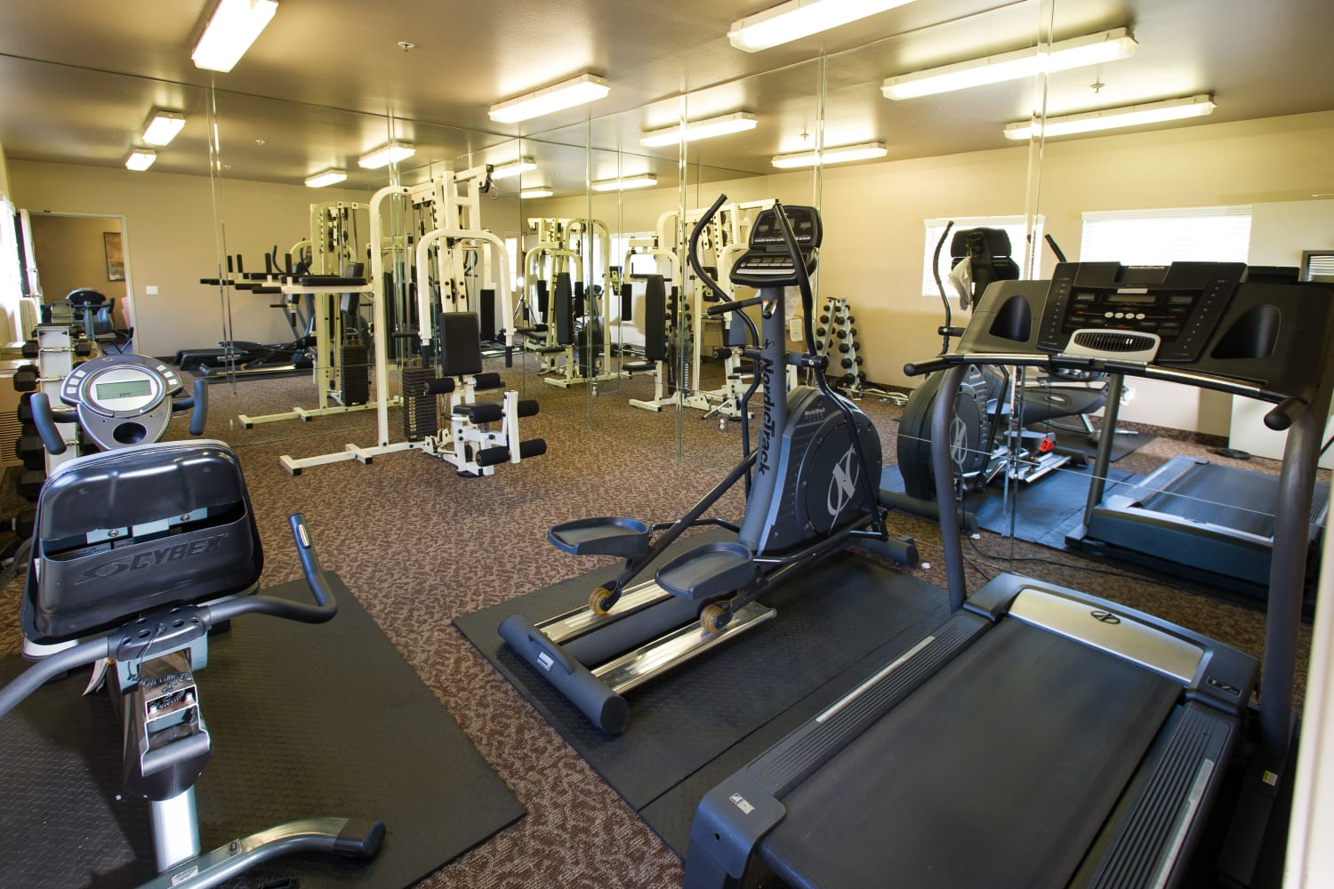 Fitness center at Fashion Terrace in San Diego, California