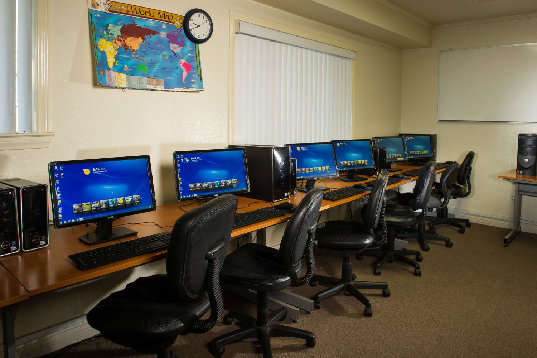 Community computer room at Chatham Village in Tustin, California