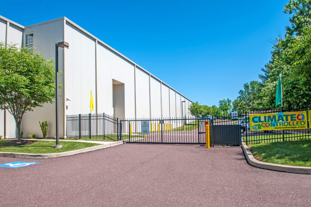 Access gate with security panel at Metro Self Storage in Limerick, Pennsylvania