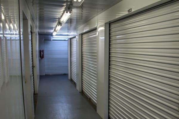 Interior self storage units for rent at Lockaway Storage in San Antonio, Texas