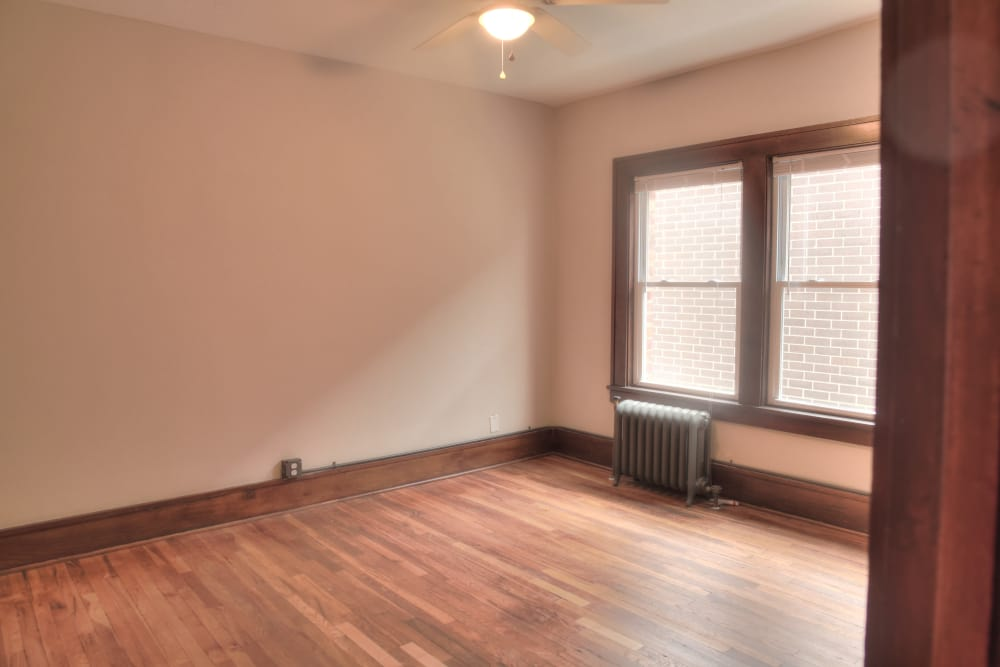 Large open living room at Ingersoll Flats in Des Moines, Iowa