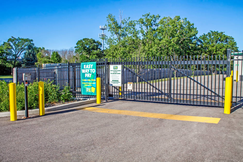 Gate with security panel at Metro Self Storage in Deerfield, Illinois