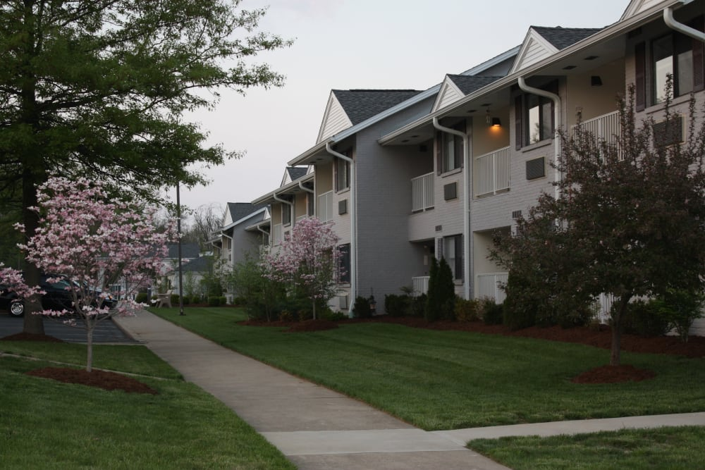 Exterior of resident apartment buildings at Willow Creek Senior Living in Elizabethtown, Kentucky.