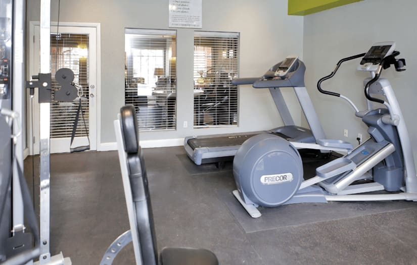 Fitness center at Promontory Point Apartments in Austin, Texas