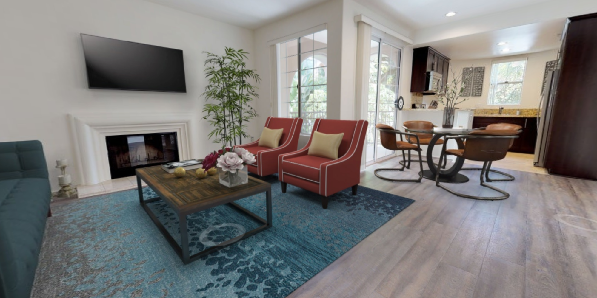 View a virtual tour of our two bedroom apartments at L'Estancia in Studio City, California
