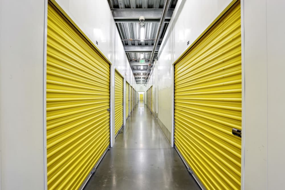 A row of indoor storage units at A-1 Self Storage in Bell Gardens, California