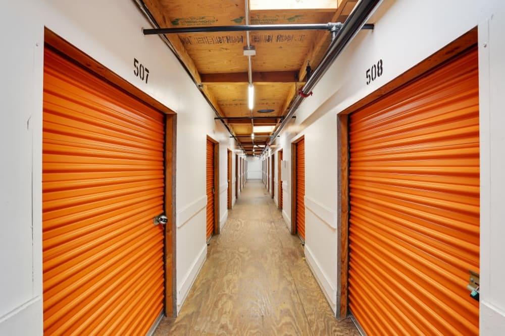 A row of indoor storage units at A-1 Self Storage in El Cajon, California