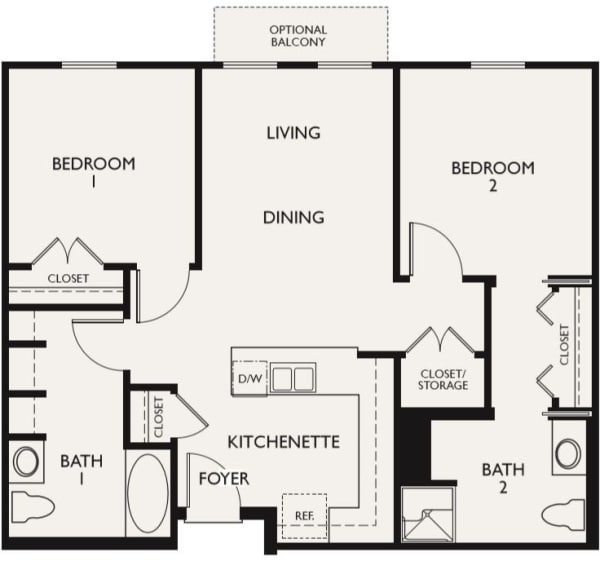 Plan D floor plans at The Inn at Greenwood Village in Greenwood Village, Colorado