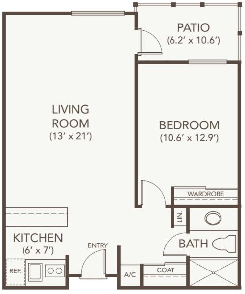 Independent living one bedroom at Oakmont Gardens in Santa Rosa, California