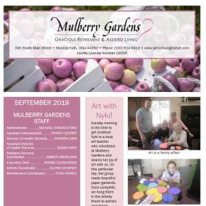 September Mulberry Gardens Assisted Living newsletter