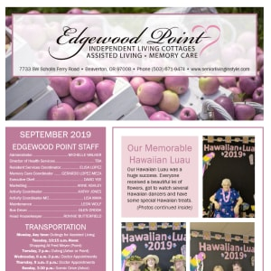 September Edgewood Point Assisted Living Newsletter