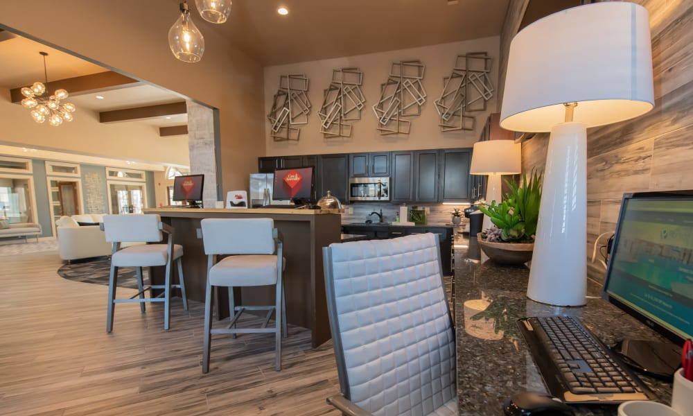 Business center at Portico at Friars Creek Apartments in Temple, Texas