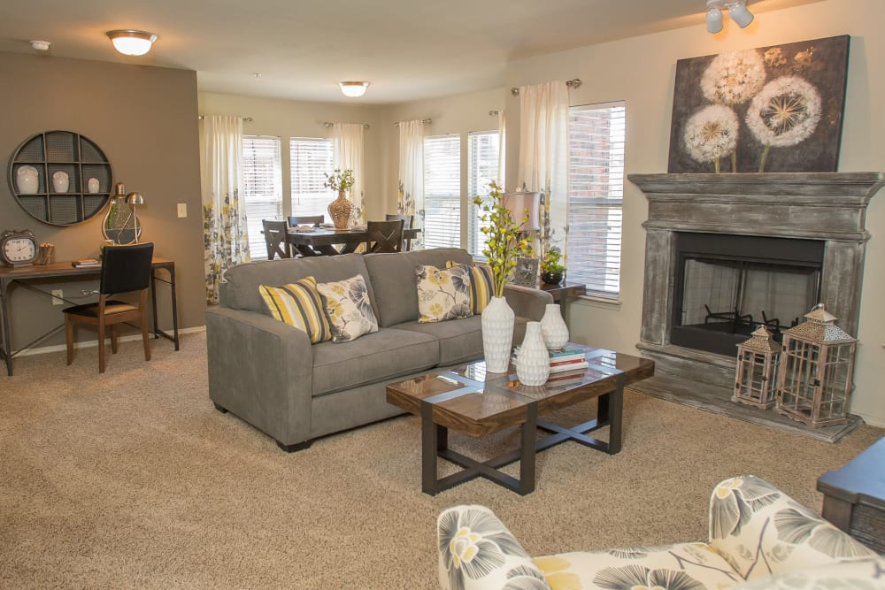 Well-lit living room at The Reserve at Elm in Jenks, Oklahoma