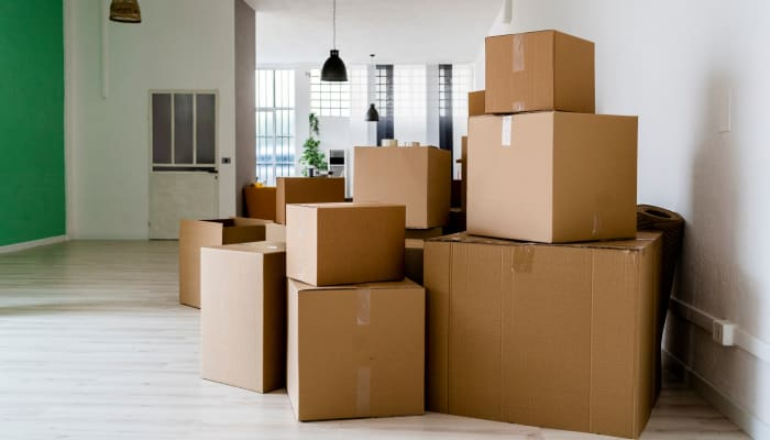 Boxes stacked and ready to be moved to A Storage Place in Tualatin, Oregon