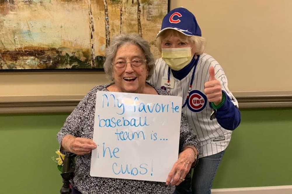 Cubs fans at Azpira Place of Lake Zurich in Lake Zurich, Illinois