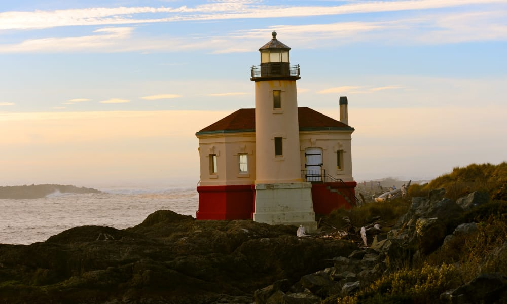 View of lighthouse at Pacific View Senior Living Community in Bandon, Oregon
