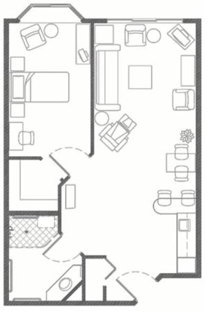 Independent Living plus one bedroom at Hillcrest of Loveland in Loveland, Colorado