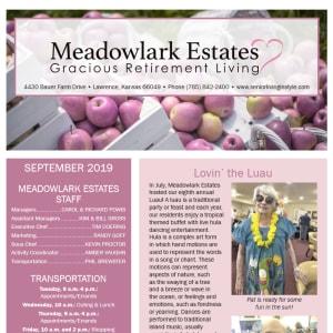 September Meadowlark Estates Gracious Retirement Living Newsletter