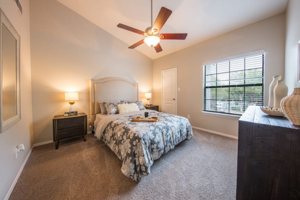 Cozy bedroom at Marquis at Treetops in Austin, Texas