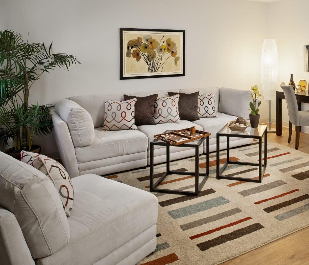 Stunning living room at Brandywyne Village in East Boston, Massachusetts