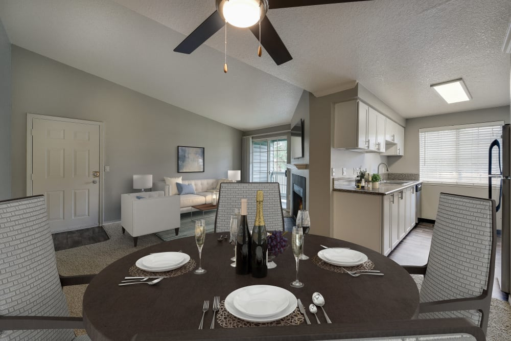 Dining room, living room and kitchen at Walnut Grove Landing Apartments in Vancouver, Washington