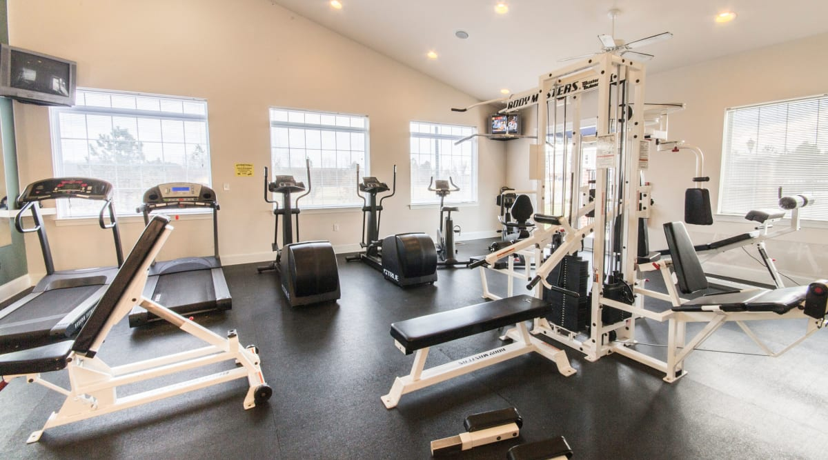 Fitness equipment and cardio center at Sunchase at Longwood in Farmville, Virginia