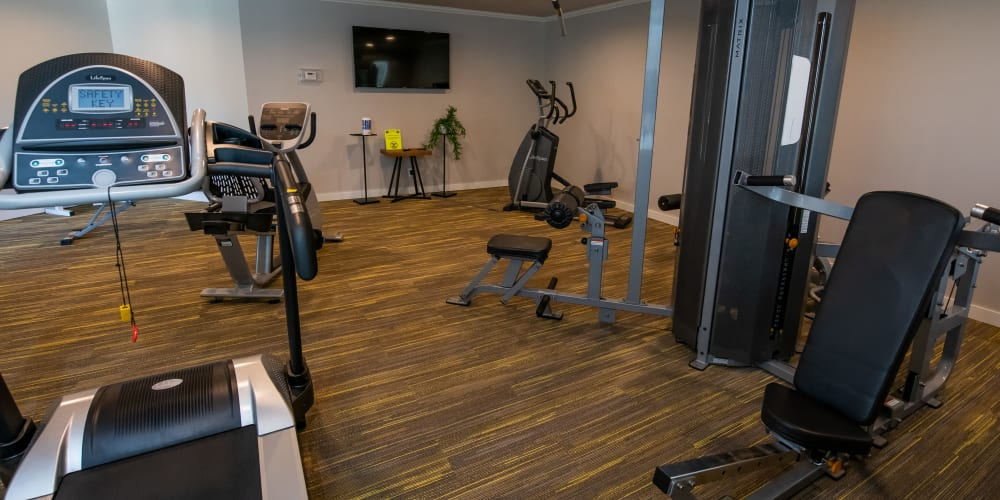 Fully equipped fitness center at Eagle Point Apartments in Tulsa, Oklahoma