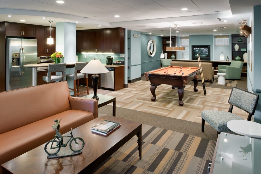 Clubroom at Camelot Court in Brighton, Massachusetts