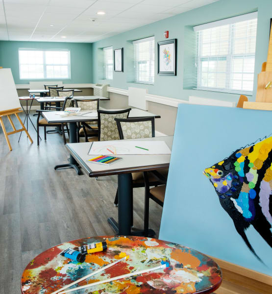 the art room is one of the many amenities offered at Randall Residence assisted living in Wood Dale