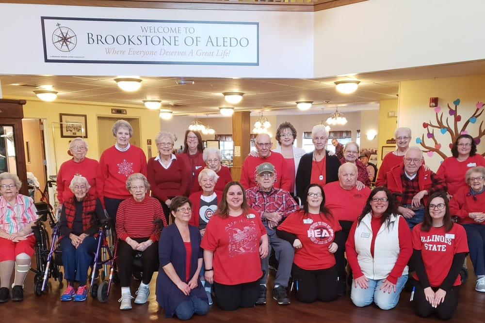 Residents and staff gathered for a photo at Brookstone of Aledo in Aledo, Illinois