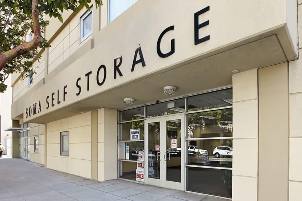 Front doors of SOMA Self-Storage in San Francisco, California