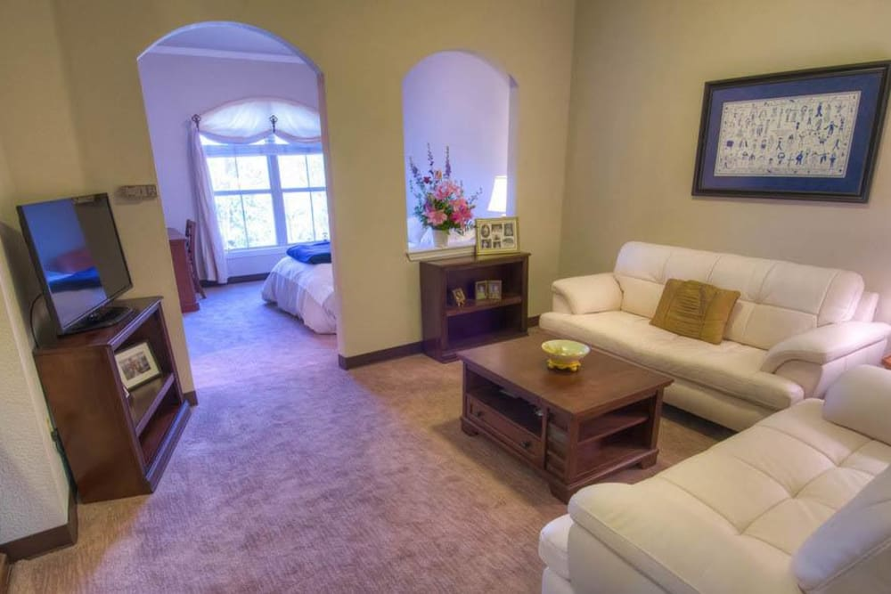 Comfortable living room in senior living apartment at Mansion at Waterford Assisted Living in Oklahoma City, Oklahoma