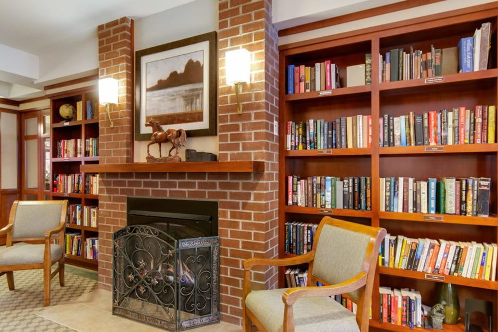 Resident library at Merrill Gardens at The University in Seattle, Washington.