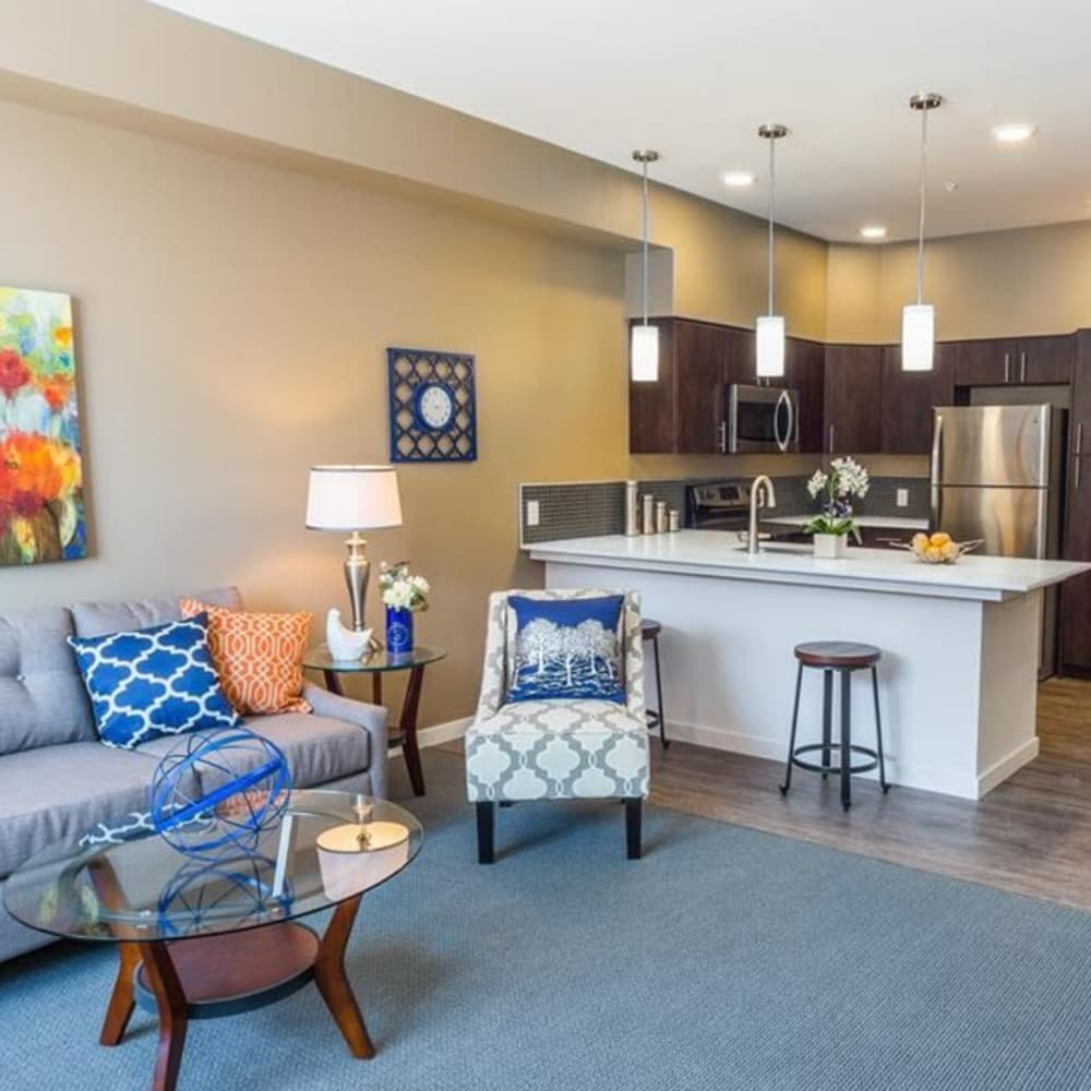 South Block Apartments showcases a spacious living room and kitchen in Salem, Oregon