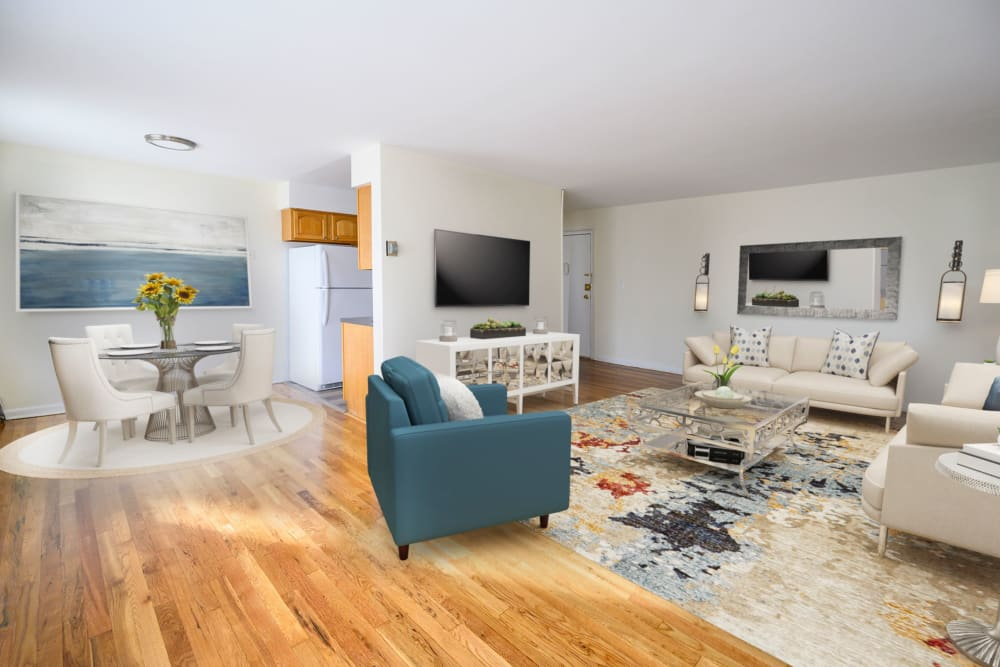 Spacious living room at State Gardens in Hackensack, New Jersey