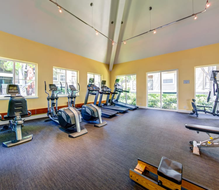 Cardio equipment and more in the fitness center at Sofi Sunnyvale in Sunnyvale, California