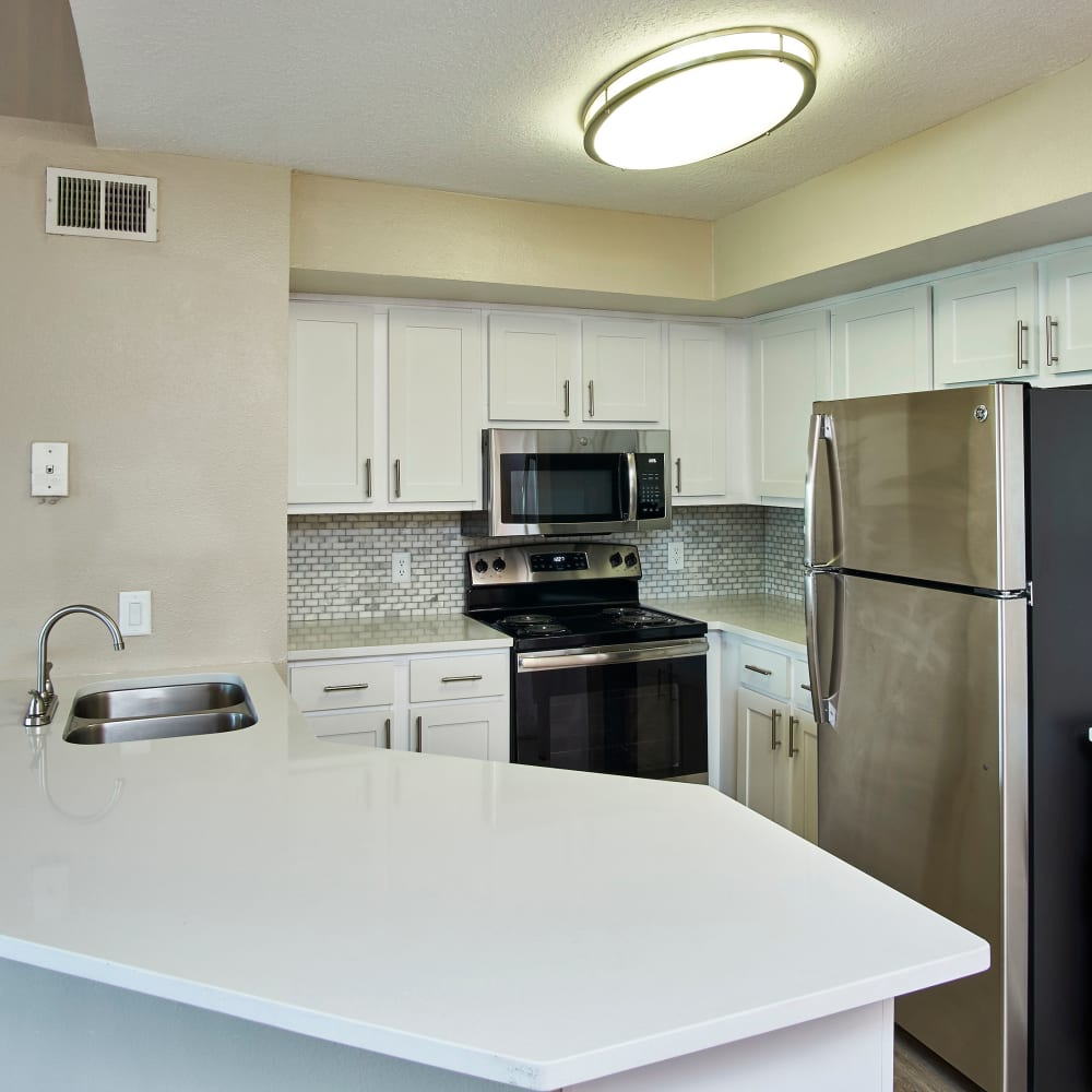 A kitchen with stainless-steel appliances at Calais Park Apartments in St Petersburg, Florida