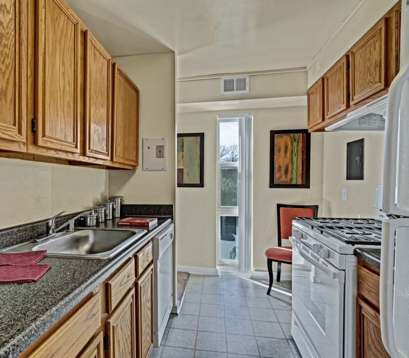 Kitchen with granite counters at Westchester West in Silver Spring, Maryland