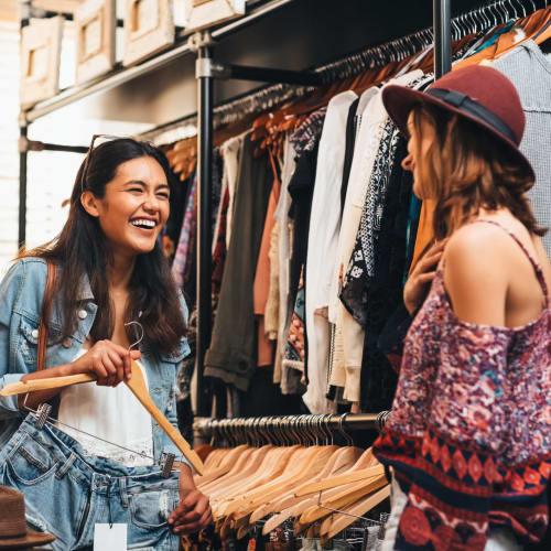 Residents doing some retail shopping at Portside Ventura Harbor in Ventura, California