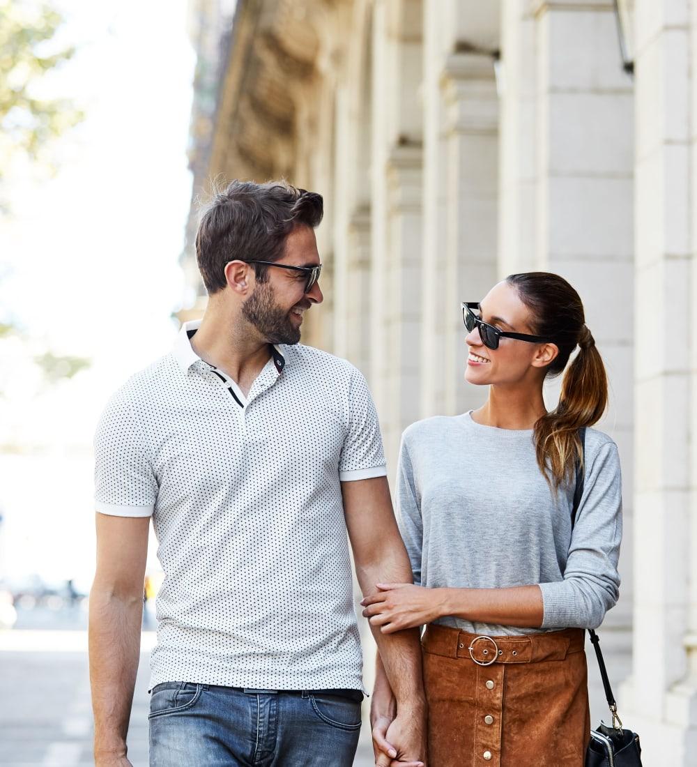 Resident couple doing some shopping downtown near Sofi Laguna Hills in Laguna Hills, California
