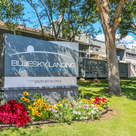 monument sign of Bluesky Landing Apartments in Lakewood