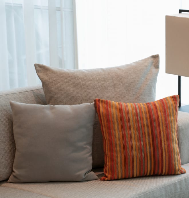 Comfy couch with Pillows at Harvest Glen
