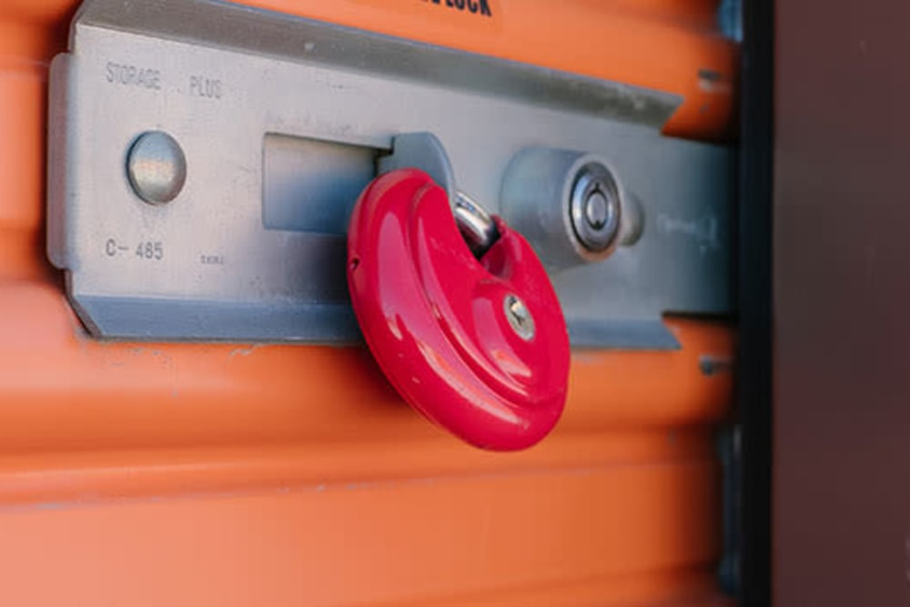 A lock on a unit door at StayLock Storage in Wheatfield, Indiana