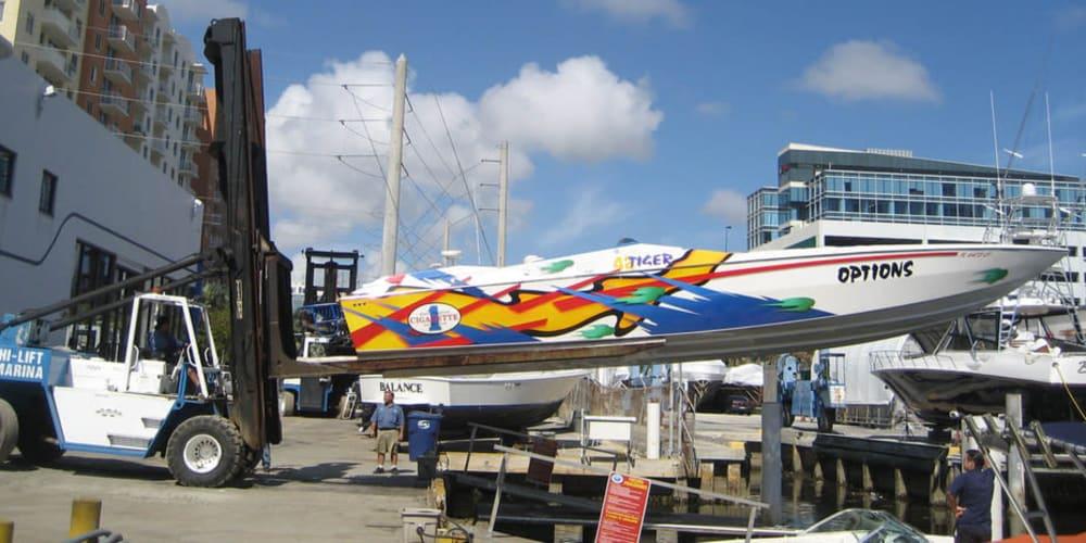 Boat in dry dock at Aquamarina Hi-Lift in Aventura, Florida