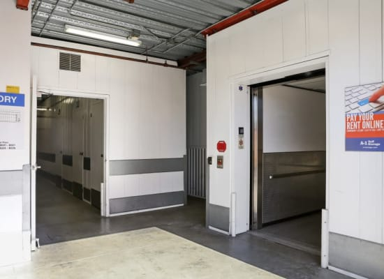 Customer elevator for easy access to upstairs storage units at A-1 Self Storage
