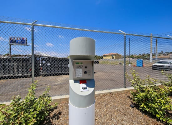 Front entry gate's electronic access point at A-1 Self Storage in Fountain Valley, California
