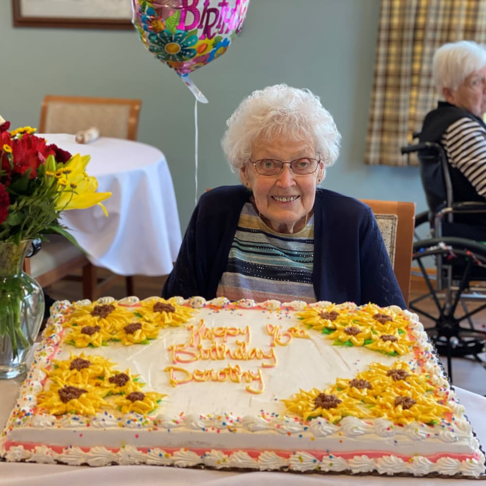 Birthday cake and Resident at Glenwood Place in Marshalltown, Iowa.