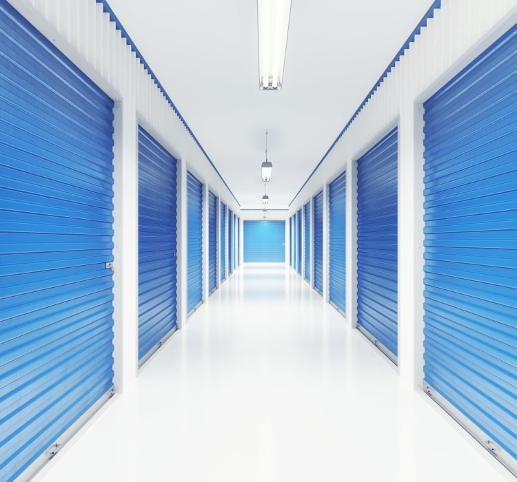 Bright and clean interior storage unit hallway at Storage Star in Federal Way, Washington