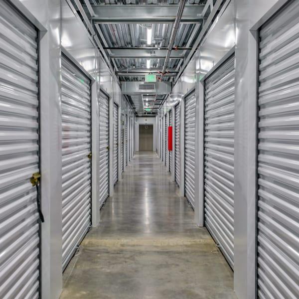 White doors on indoor units at StorQuest Self Storage in Denver, Colorado